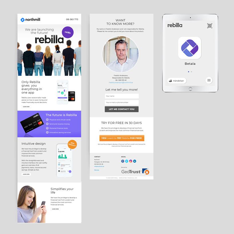 Nyhetsbrev och app design – Rebilla